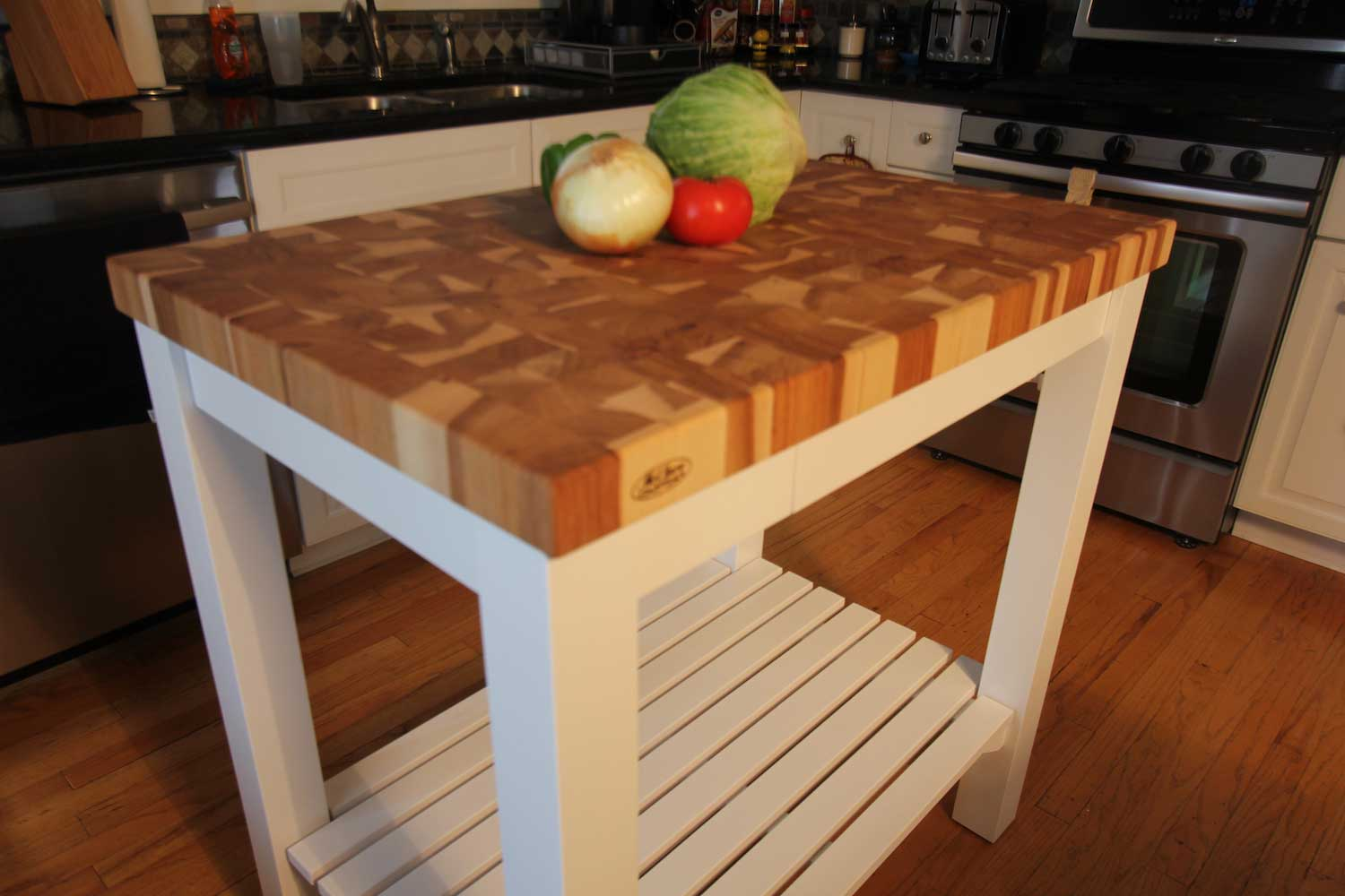 End Grain Butcher Block Kitchen Island : Butcherblock-End-Grain-Hickory-Butcher-Block-Top-Island-Cart - McClure Block Butcher Block and ...