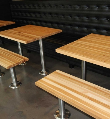 RESTAURANT DINNING TABLES HICKORY EDGE GRAIN