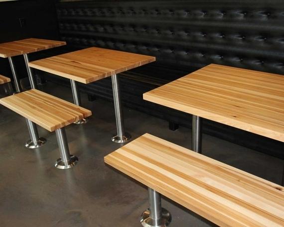 RESTAURANT DINNING TABLES HICKORY EDGE GRAIN